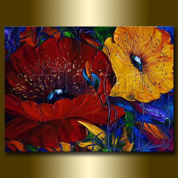 Modern flower oil painting red poppies floral canvas - Peinture fleur moderne ...