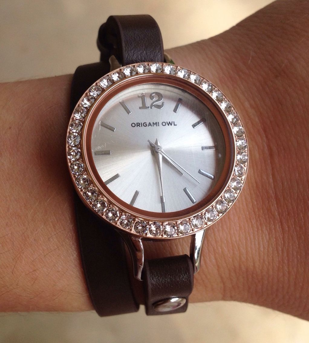 Fall And Winter Bling Love This Origami Owl Watch With Leather Wrap