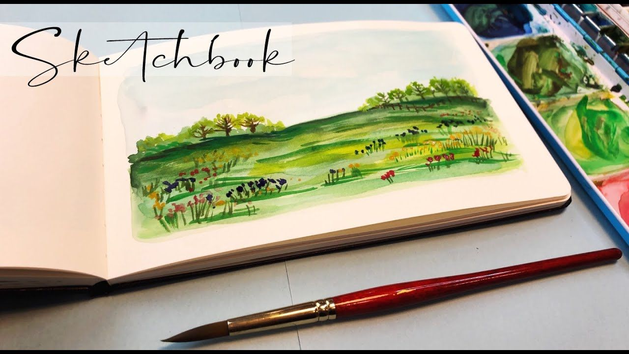 Landscape Painting Watercolor Tutorial Sketchbook Tour Step By