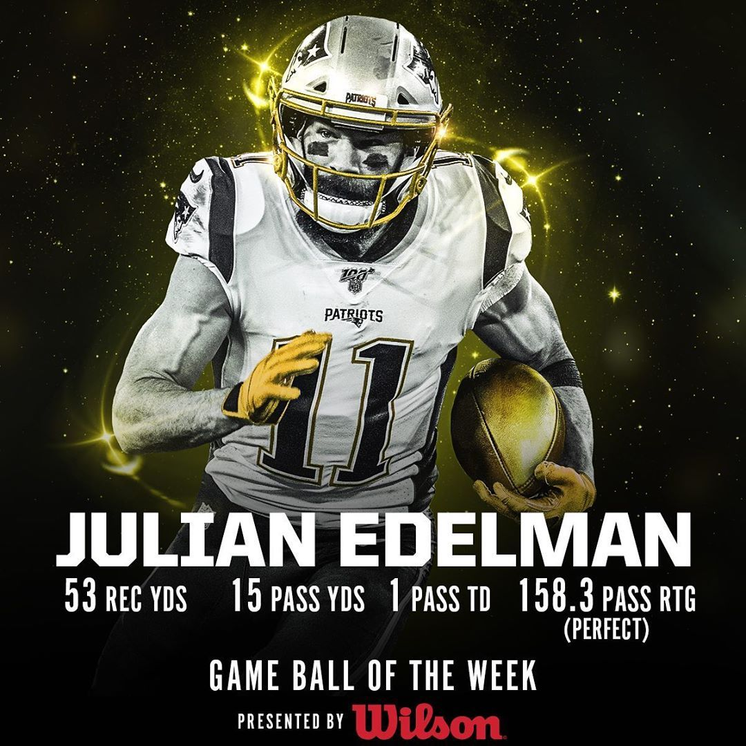 Nfl The Game Ball In The Nfl100 Game Of The Week Goes To Patriots Wr Edelman11 Big4 Bigfour Patriots Patriots Julian Edelman Football Helmets