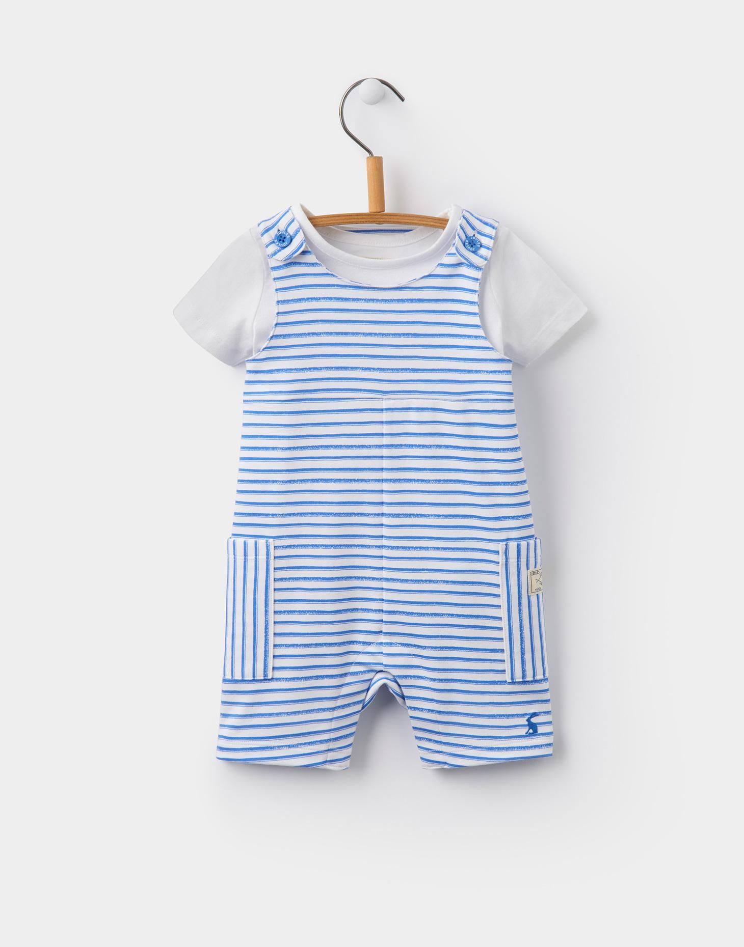 1314a9ede9c8 Duncan Blue Stripe Jersey Dungaree and T-Shirt Set