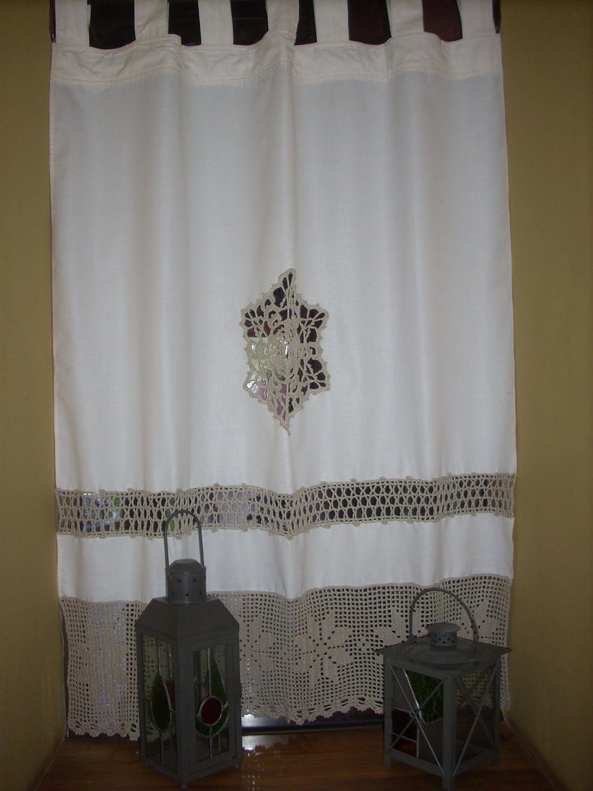 Cortinas de tela con apliques de crochet buscar con google cortinas y l mparas pinterest - Telas opacas para cortinas ...