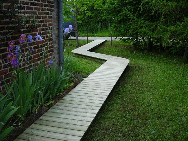All e en bois promenade en sous bois pinterest jardins platelage bois et all es jardin - Allee de jardin en bois ...