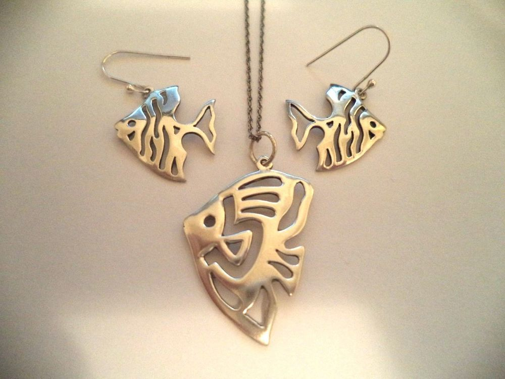 Angel fish set pendant and earrings sterling silver