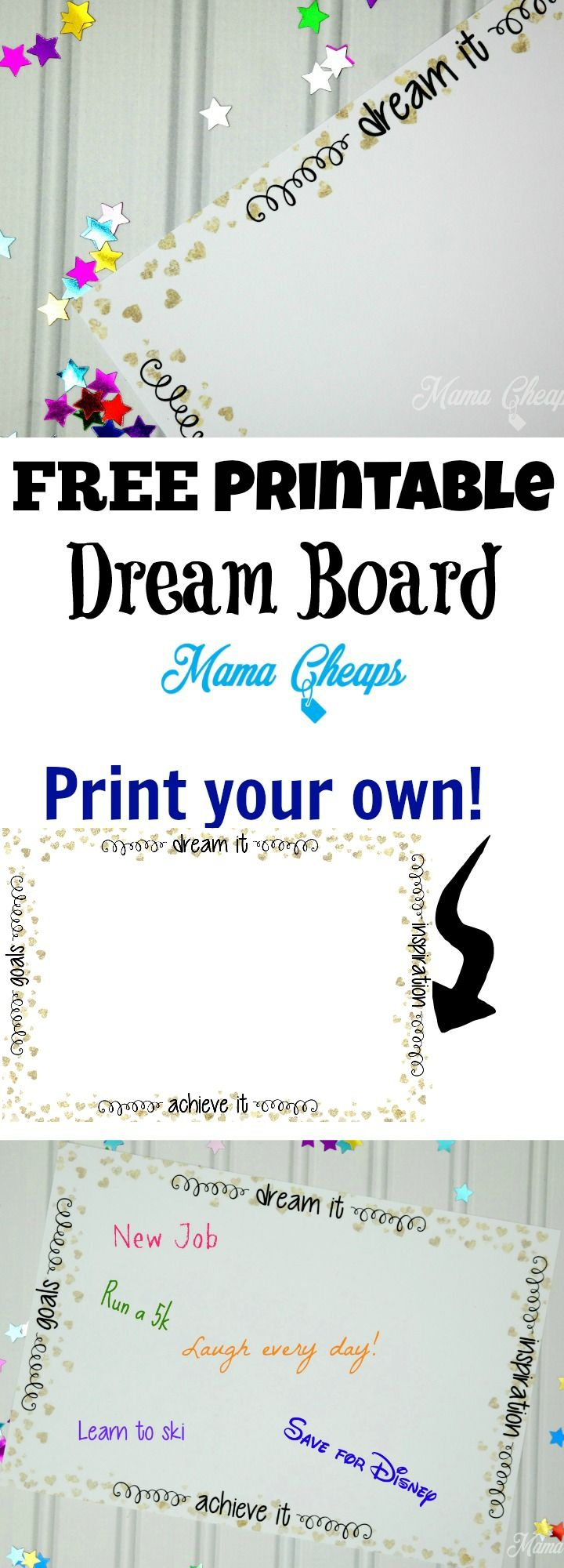 Free Printable DIY Dream Board from @MamaCheaps http://bit.ly/2iU5nyt