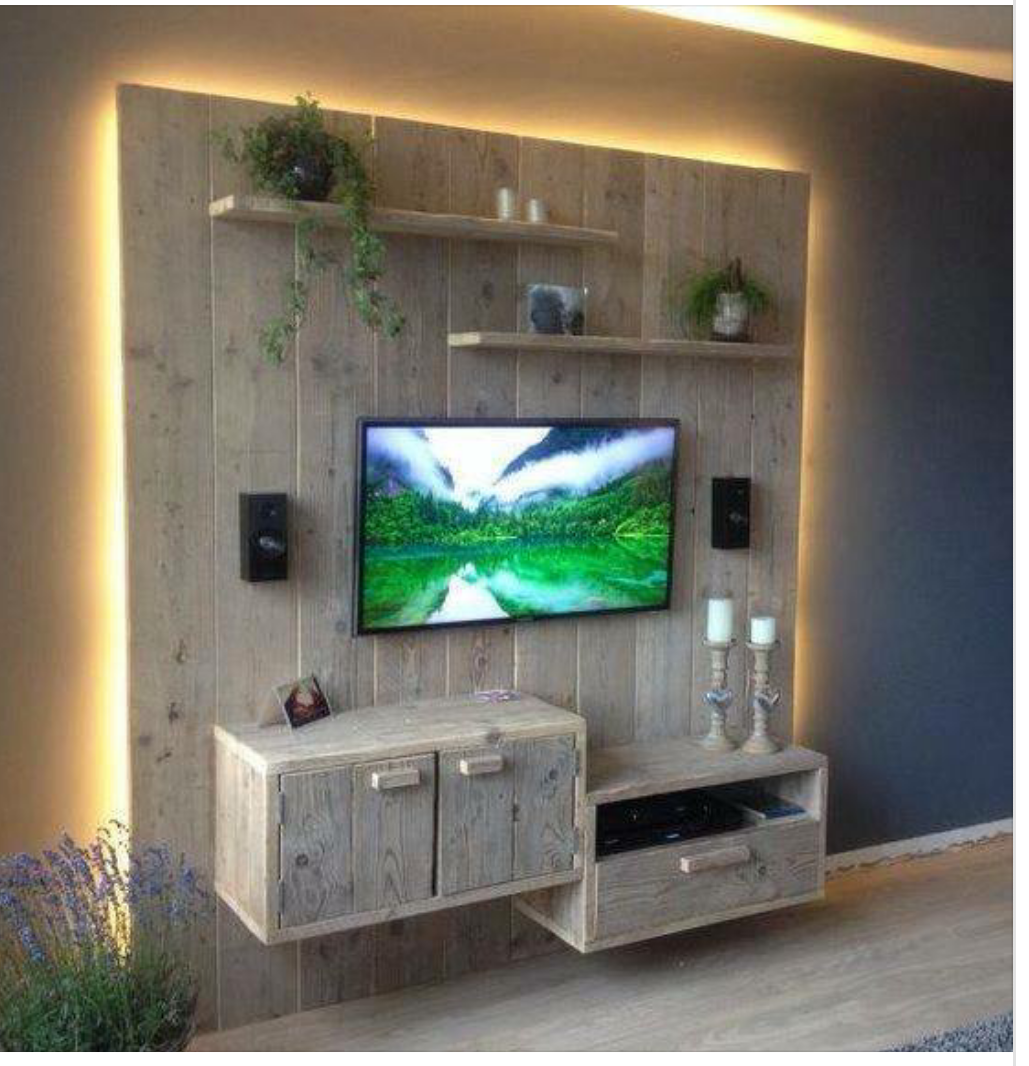 Pingl Par Amber Kolar Sur Bathroom Pinterest Tv Palette  # Meuble Tv Avec Support Mural