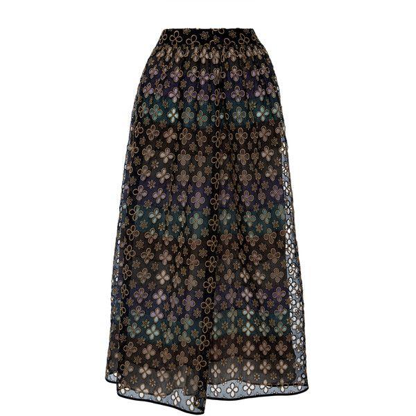 Huishan Zhang Sharon Broderie Anglaise Skirt (10.460 NOK) ❤ liked on Polyvore featuring skirts, silk skirt, embroidered skirt, huishan zhang and mid length skirts
