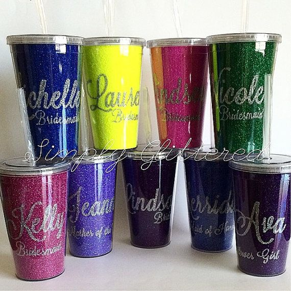 Glitter Bridal Party Tumbler [Bridesmaid, Flower Girl, Maid of Honor, Mother of the Bride, etc]