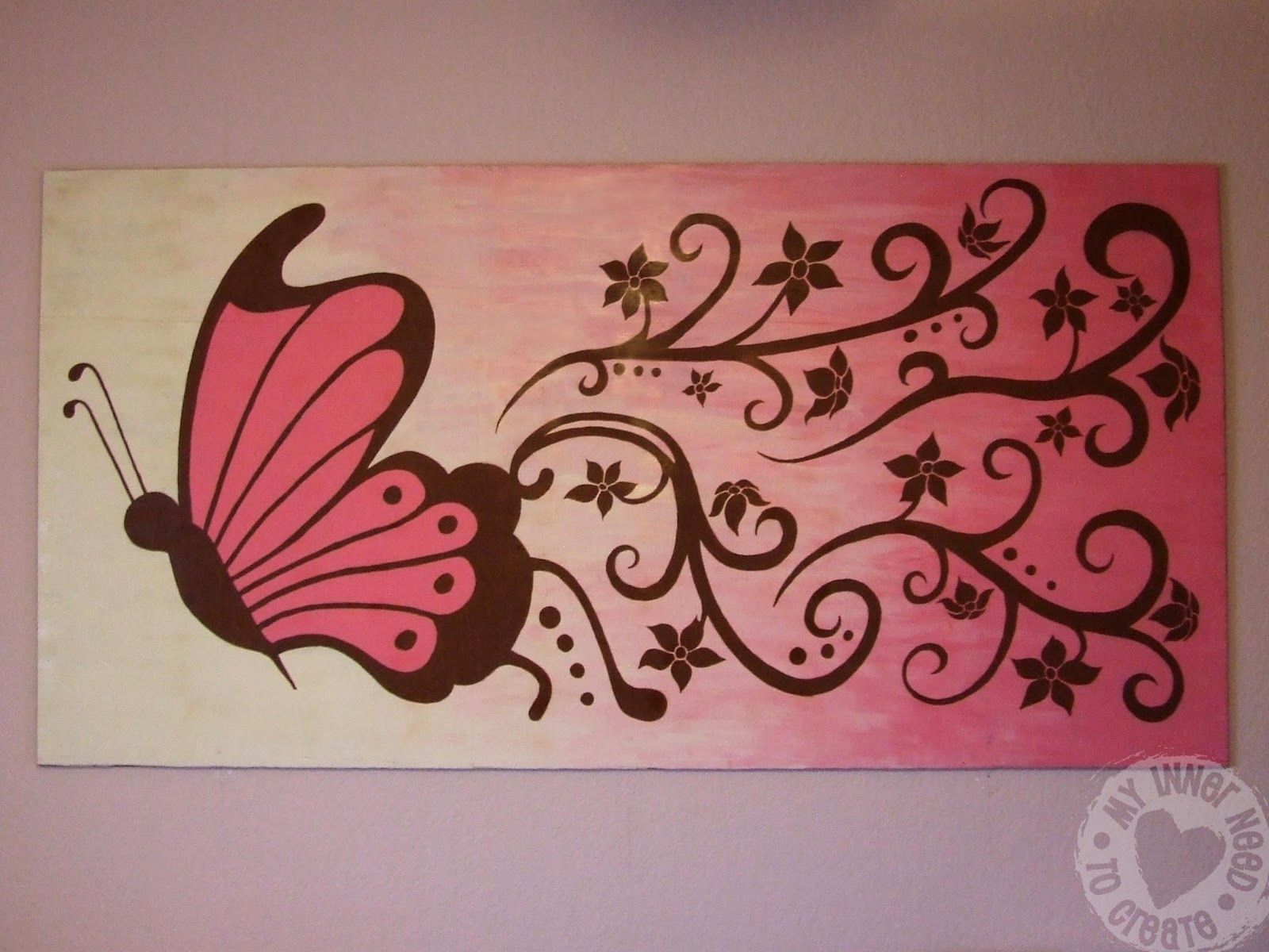 Brown And Pink Butterfly And Flower Mural Fit For A Diva Flower