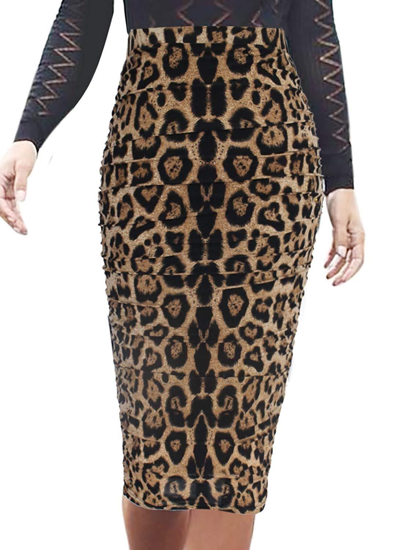 Pencil Skirt Womens Elegant Ruched Ruffle High Waist Pencil Midi Mid-Calf Skirt, Leopard Print / Large