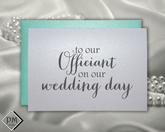 Wedding officiant card, thank you card to reverend priest judge ...