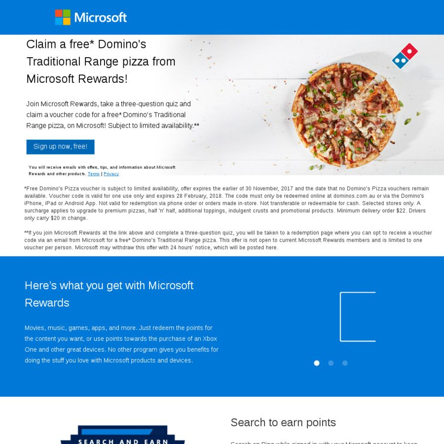 Free Domino\'s Traditional Pizza for Signing up to Microsoft Rewards ...
