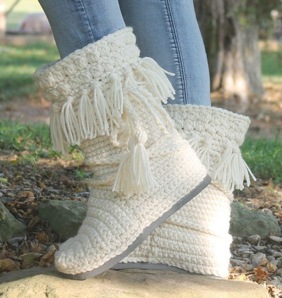 Crochet Boots Pattern-------NEW! FRINGE MUKLUKS-------- wear them ...