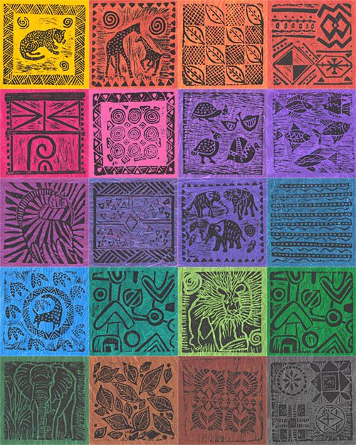 South African Black on Color Stamped Hand-Dyes - Swatch Packet ... : best quilt fabric online stores - Adamdwight.com