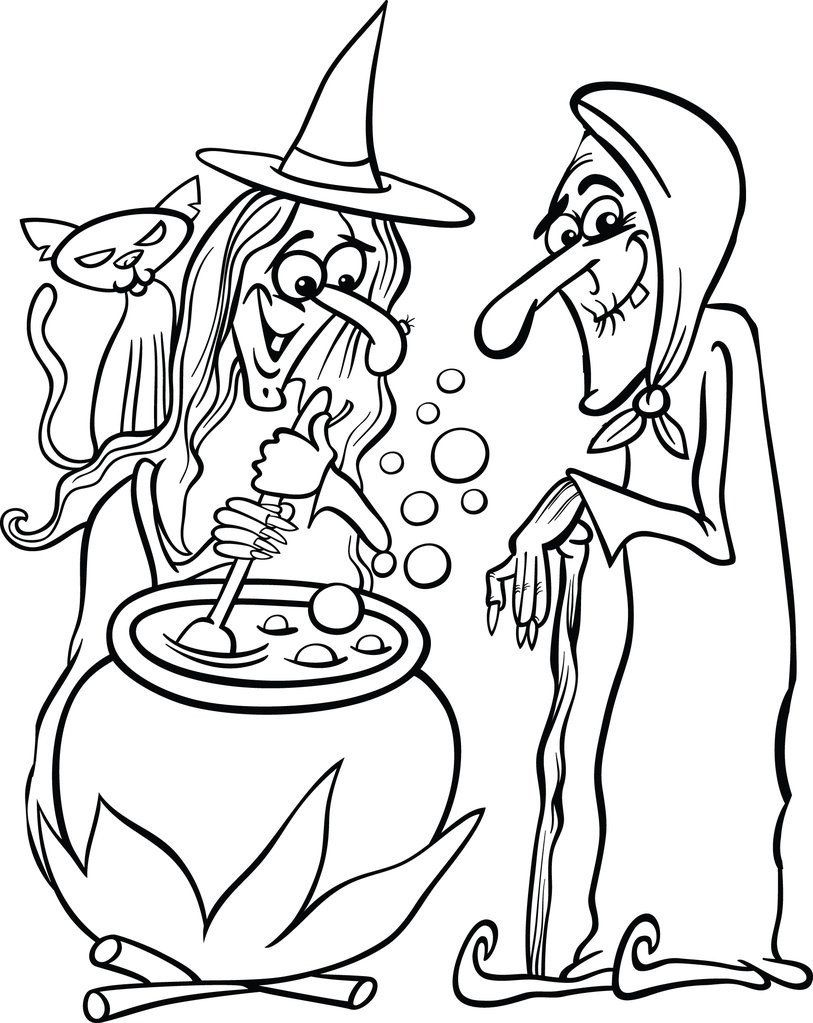 Free Witch Coloring Pages Printable Halloween Witches