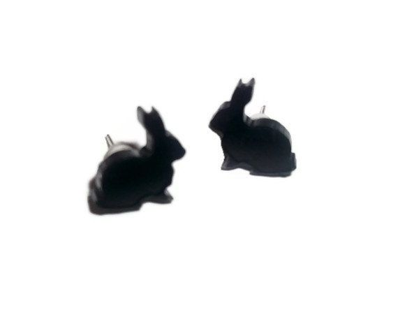 Rabbit Stud Earrings, Kawaii Black Bunny Laser Cut Studs on Etsy, $9.13 CAD