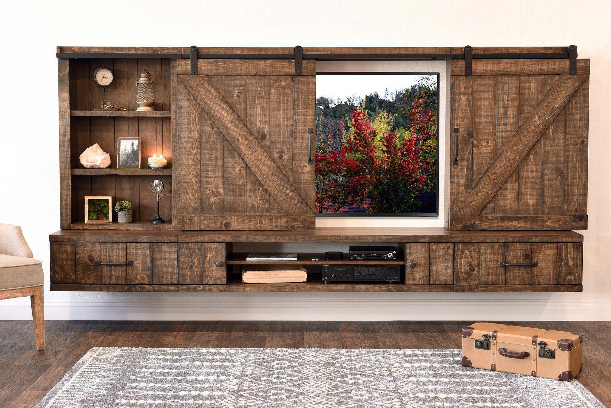 Farmhouse barn door entertainment center floating tv
