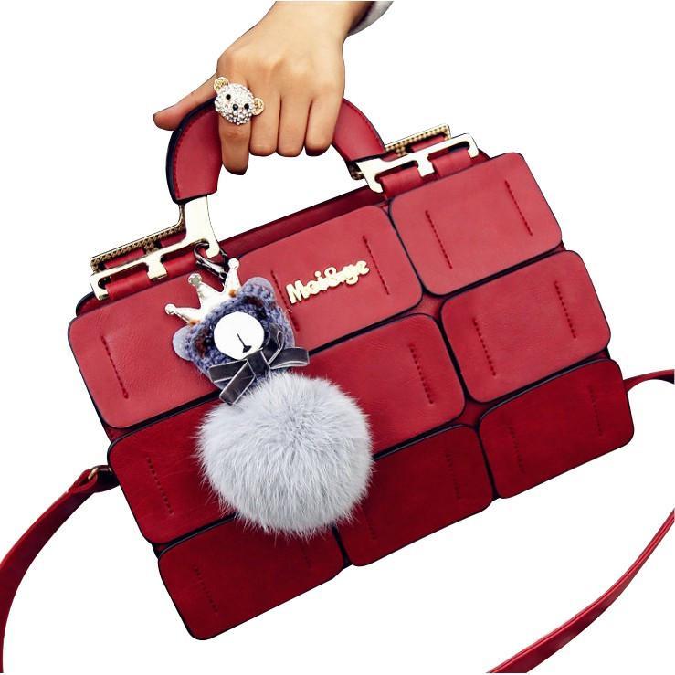 cc807f2424 Portable Shoulder Bag with - Fur Ball. Fashion Women Portable Shoulder Bag  Women s Fur Ball Messenger Bag Ladies Handbag ...