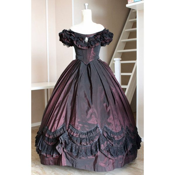 Ball gown Victorian dress Burgundy with black lace and Ribbon types ...