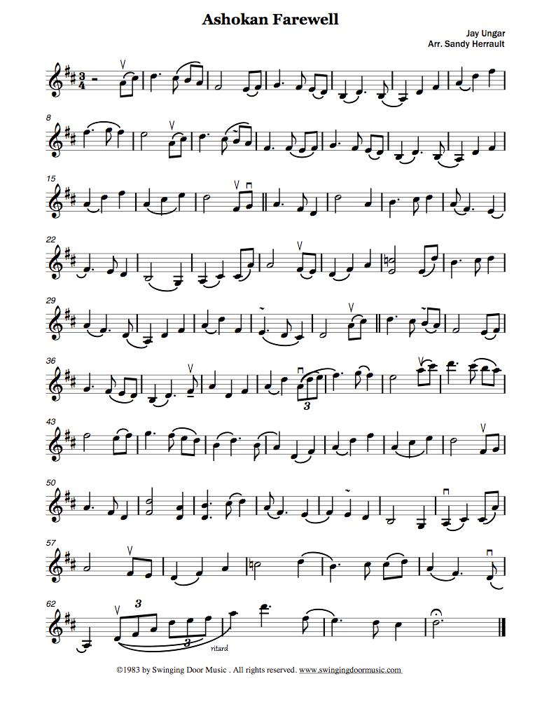 Ashokan Farewell for violin  | Fiddle | Violin sheet music