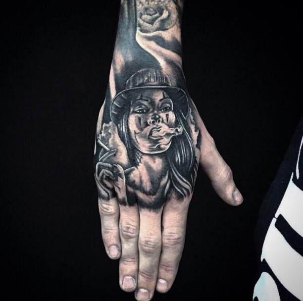 Tattoo Smoking Girl on Hand #Tattoo, #Tattooed, #Tattoos ...