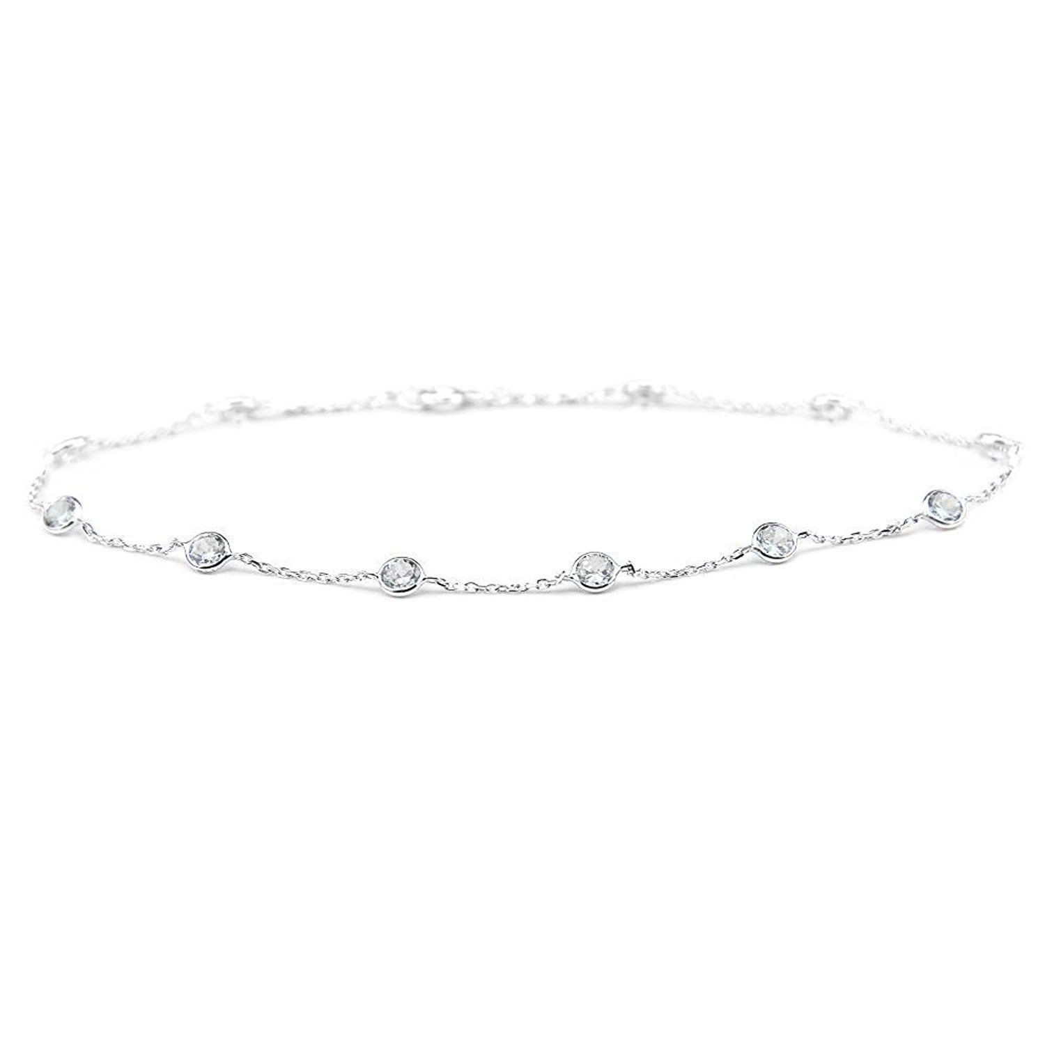 with silver anklet set single zirconia sterling cubic rubover p belcher asp