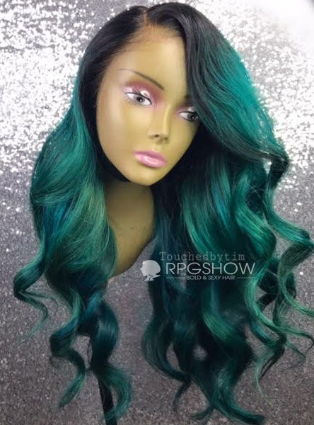 Emerald Green Synthetic Hair 32 inches in length 40 inches long NEW Long Weft