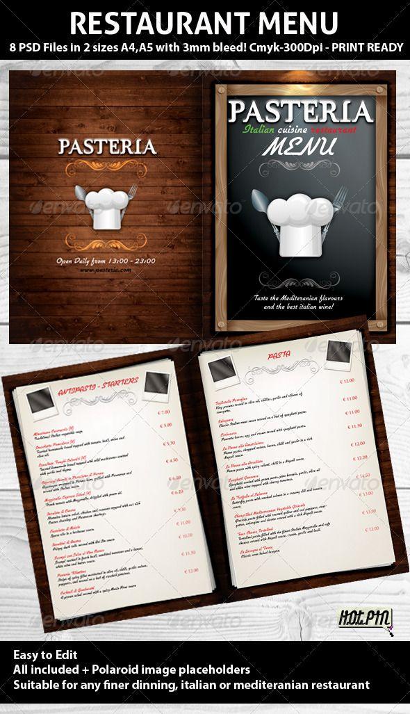 Restaurant Menu PSD Template Ristorante e Polaroid - polaroid template