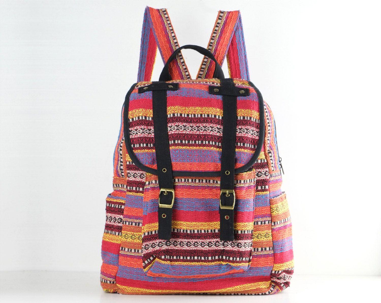 Cute Cotton Woven Backpack Cloth bag Multi Colour by TaTonYon, $39.00