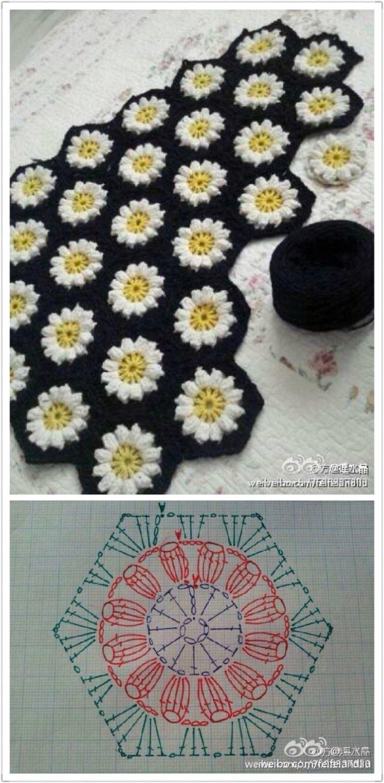 hexagonal flower motif crochet More | häkeln | Pinterest ...
