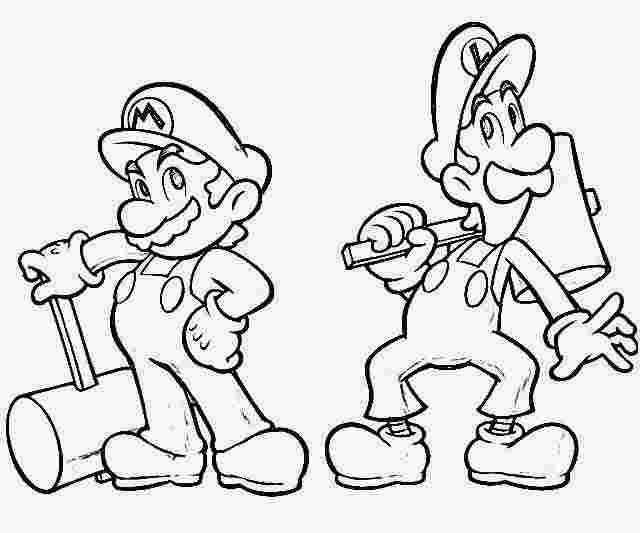 printable colouring pages of mario and luigi mario and ...
