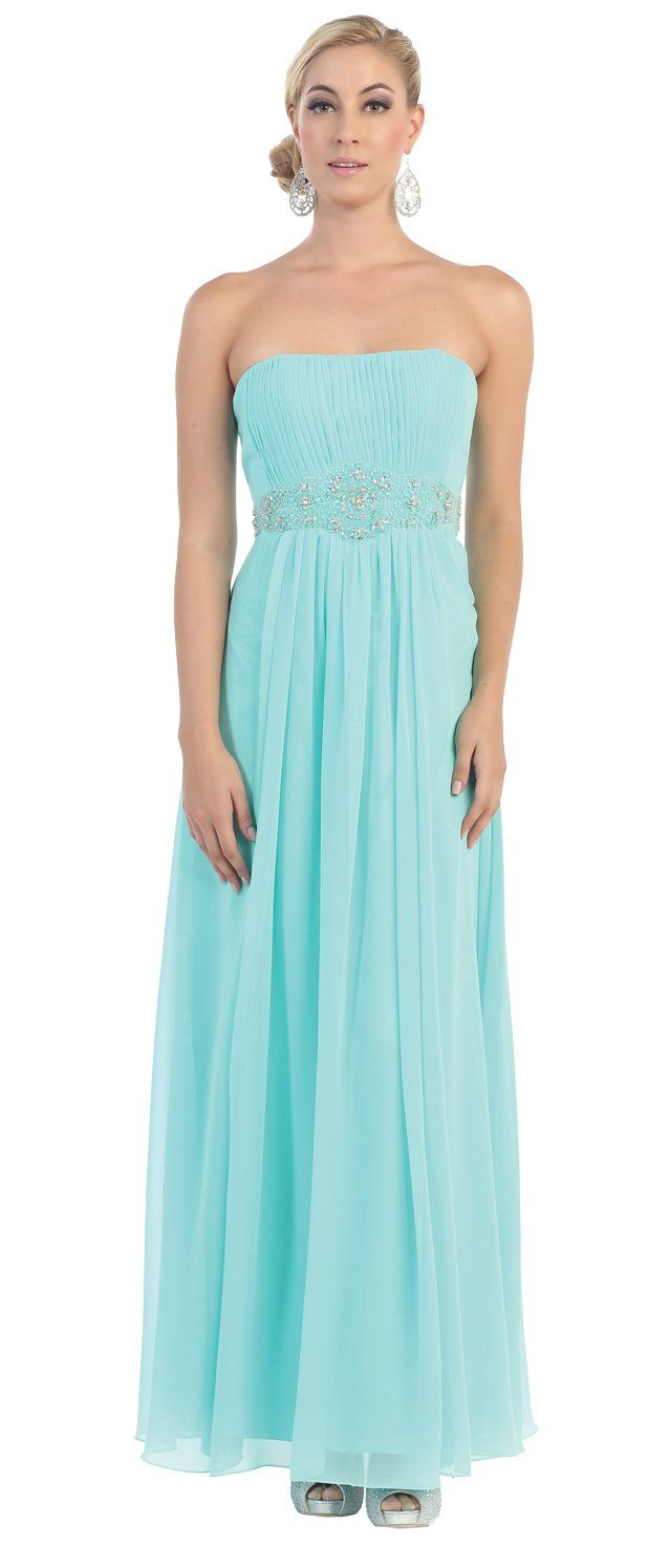 Strapless chiffon goddess long gown prom dress aqua made