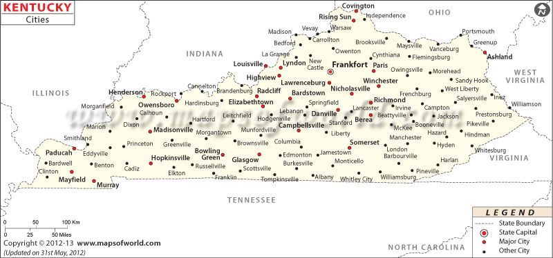 Kentucky City Map USA Maps Pinterest Kentucky City Maps - Map of united states with capitals and major cities