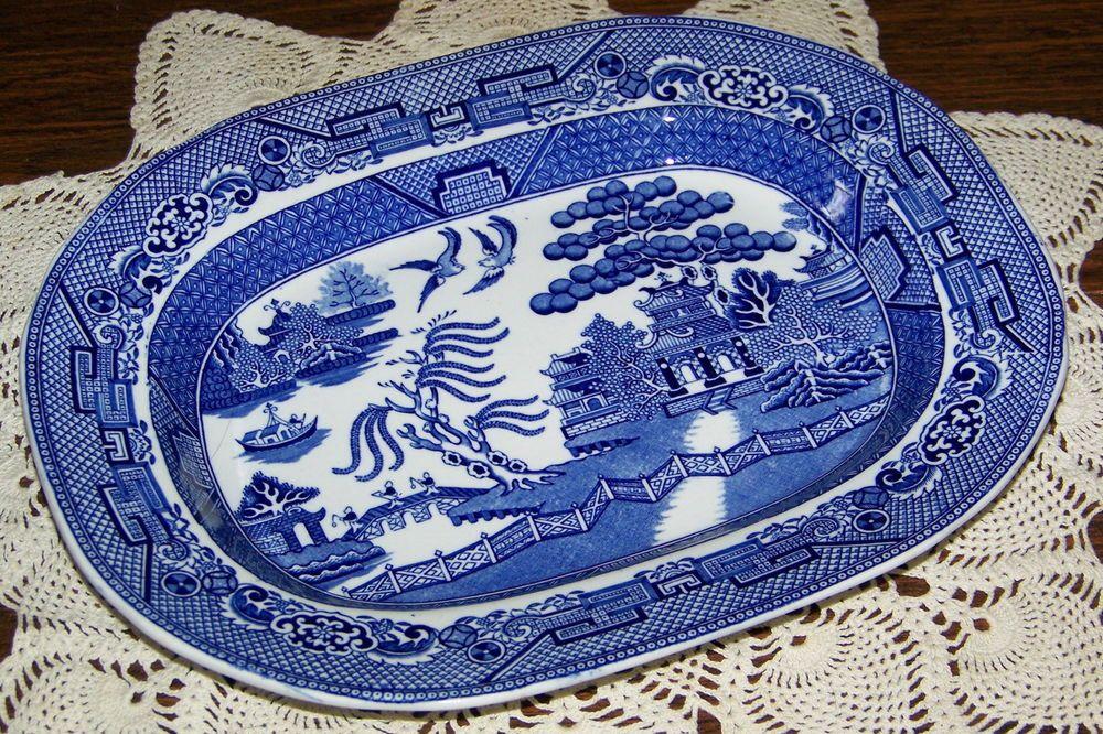 "Vtg Antique Wm Adams England Staffordshire Willow Blue 11/"" Oval Serving Platter"