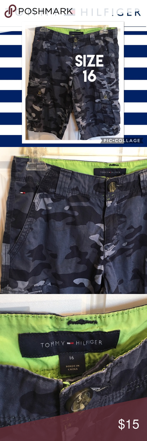 Tommy Hilfiger Boys Blue Camo Cargo Shorts Size 16 Excellent Condition. Tommy Hilfiger Bottoms Shorts