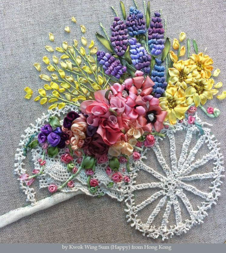Silk ribbon embroidery and