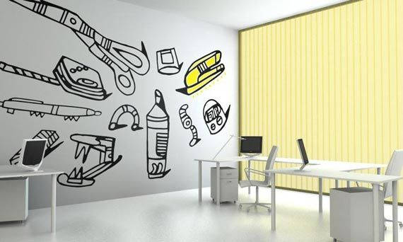 Mural Home Office Painting Idea | Home Office Design Ideas ...