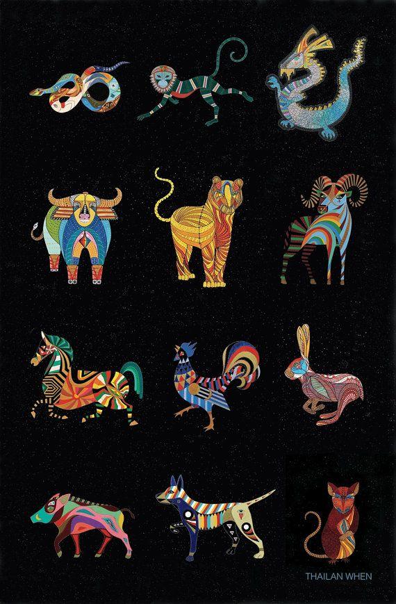 5884224db + COMPLETE SET OF 12 CHINESE ZODIAC ANIMAL ART PRINTS + 11x11 Art by  Thailan When
