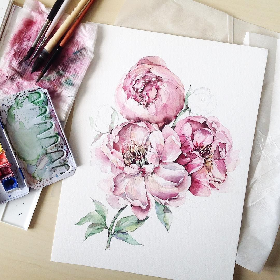 Peony Watercolor Flower Tattoos: See This Instagram Photo By @katerina_mihailina_07 • 8,065