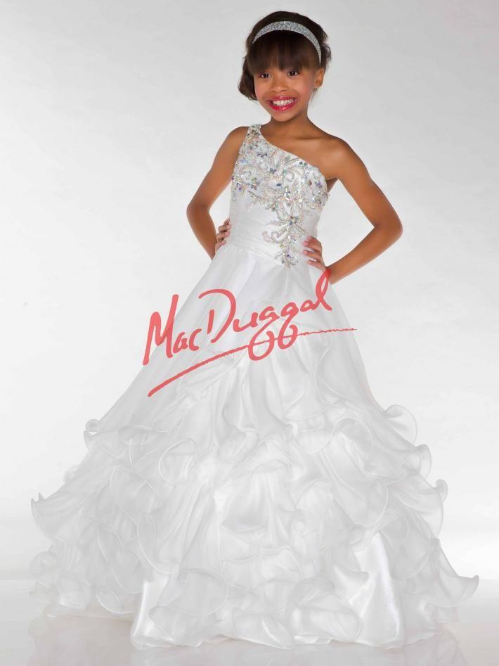 White Little Girls Pageant Dress | Mac Duggal 64935S | Girls Pageant ...