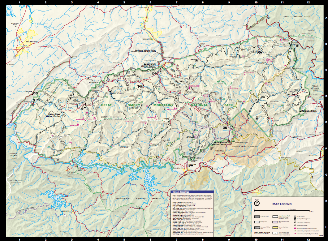 Great Smoky Mountains Trail Map | great smoky mountains ... on hiking lake tahoe map, hiking appalachian trail map, hiking cades cove map,