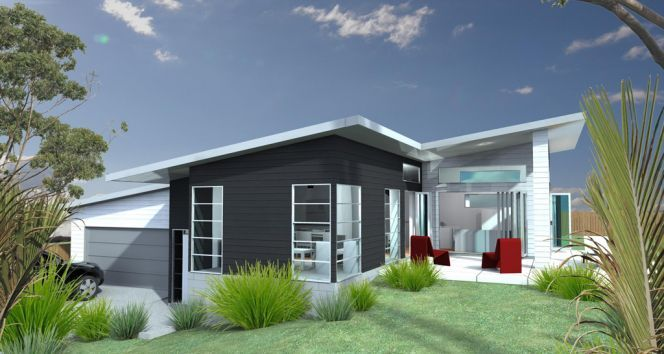 Features include extremely modern functional home for sloping sites generous open living and dining areas separate second living area perfect for home