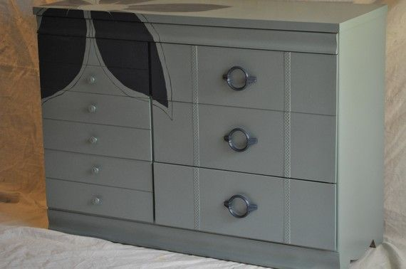 Chest of Drawers  Vintage Sage Green & Navy by TheVelvetBranch, $325.00