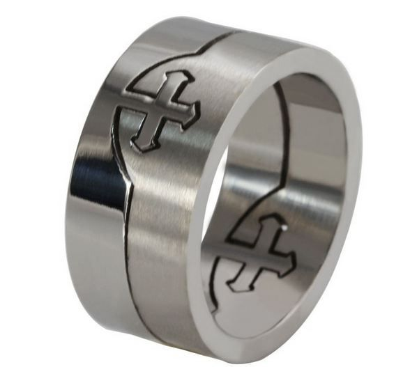 Fashion Men Stainless Steel Cross Ring Retro Punk Rock Crystal CZ Band Size 7-13