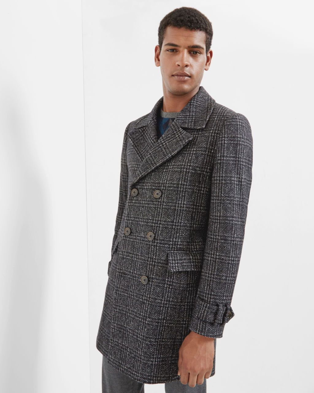 4654b3adc Checked double breasted coat - Charcoal