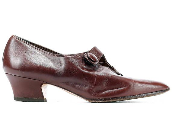 a81922e3ad62 Us women 6.5 Retro Shoes 70s Brown Leather Cut Out Shoes 1970s Vintage Brown  Wedding Flapper Girl H