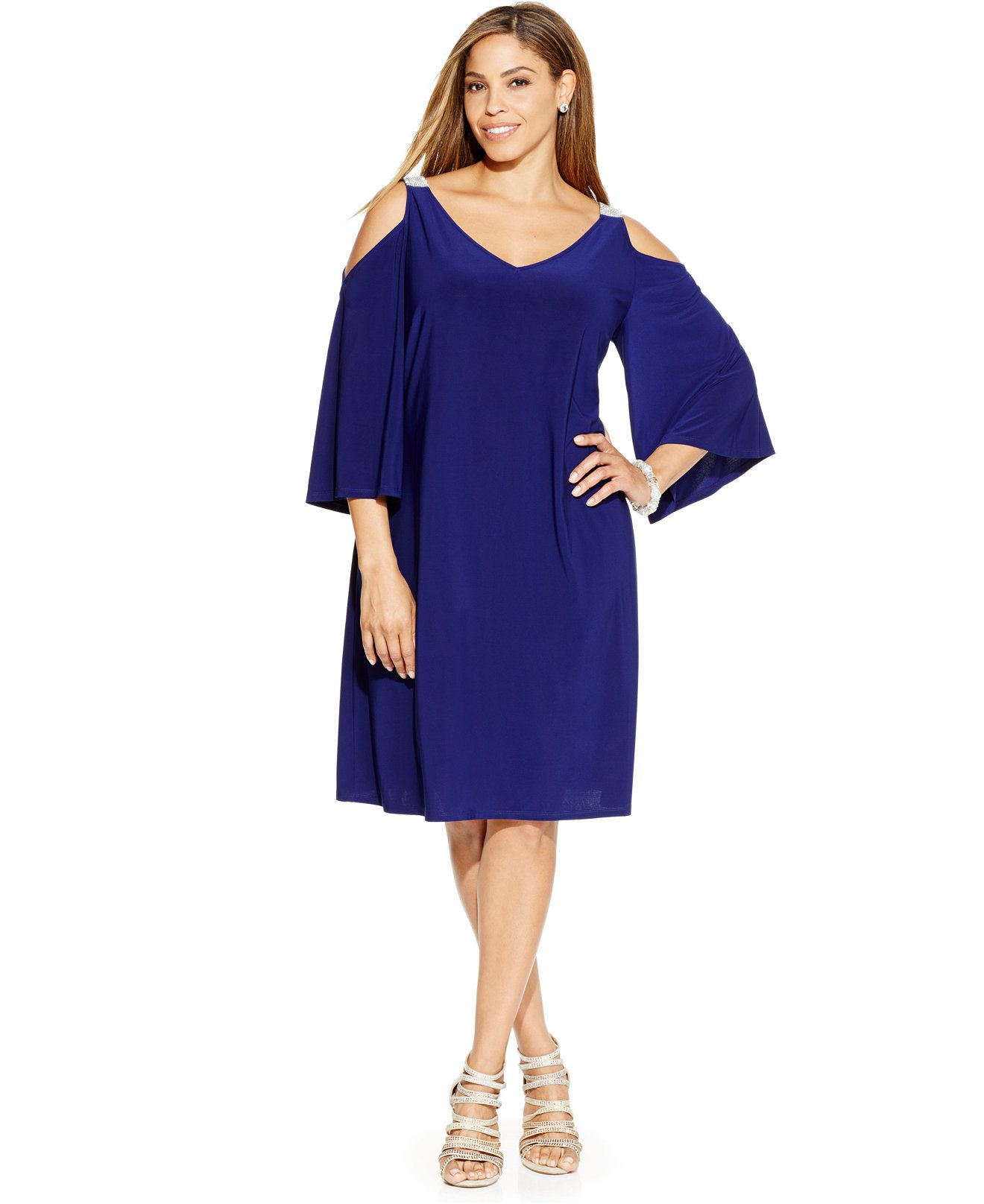 MSK Plus Size Cold-Shoulder Embellished Shift Dress - Dresses ...