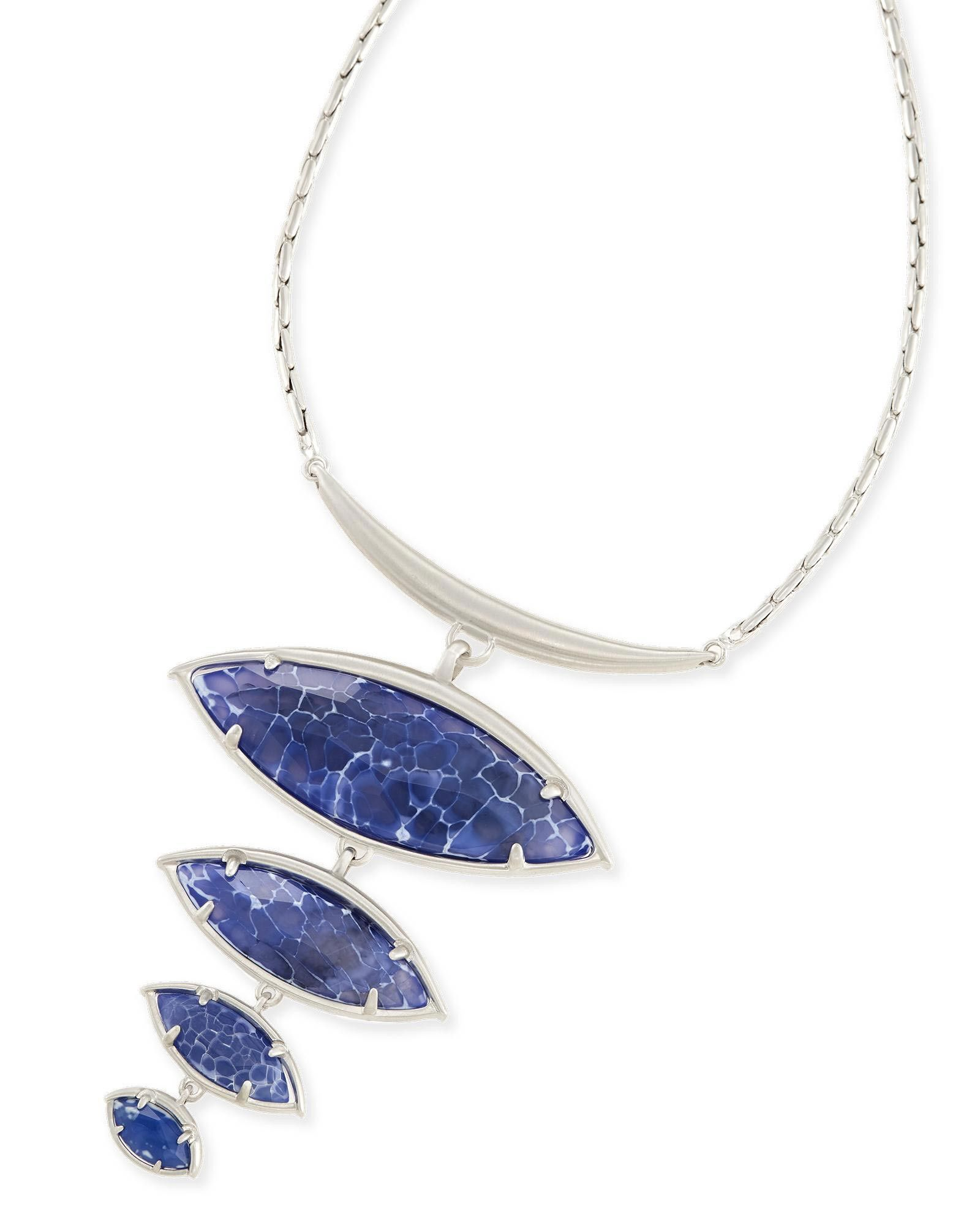 Kendra scott morris statement necklace in crackle blue agate