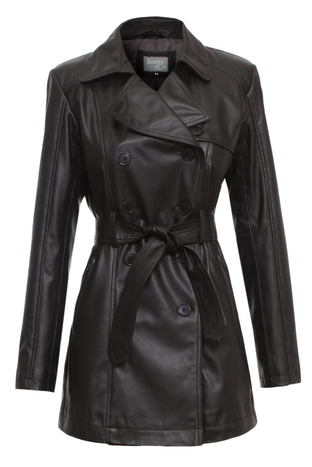 Womens Trench Coat Faux Leather Black l JAMES&CO   Leather