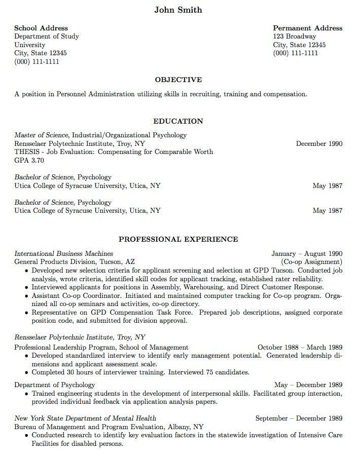 Sample Resume For College Student Supermamanscom -   www - I O Psychologist Sample Resume
